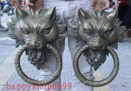 foo dog door knocker 17 brass guardian foo fu dog lion wolf