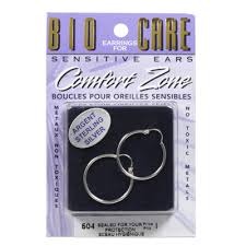 bio care comfort zone earrings for sensitive ears sterling silver