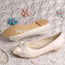 wedding shoes flats ivory aliexpress buy wedopus women wedding shoes ivory peep toe