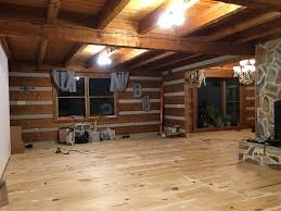 log cabin floors creek log cabin living room renovation one room challenge