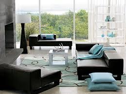 interior home decoration idea with black leather modular sofa and