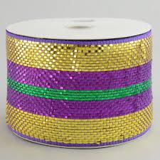 deco mesh ribbon 4 poly deco mesh ribbon premium purple gold green stripe rs2073x4