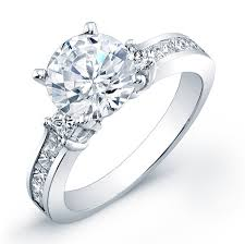 set rings round images Channel setting with side stones round cut diamond engagement ring jpg