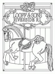kids ride carousel horse coloring pages kids ride carousel horse