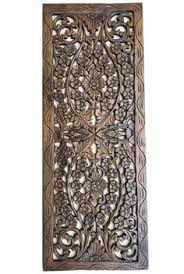 wood wall plaque carved wood floral wall decor