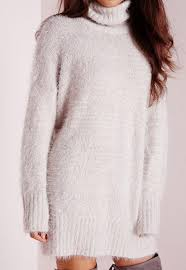 fluffy roll neck sweater dress grey missguided