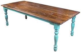 8 ft mexican colonial turquoise painted wood dining table