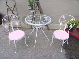 Wrought Iron Bistro Table And Chairs Shabby Chic Wrought Iron White And Pink Rose Bistro Patio Set Nh