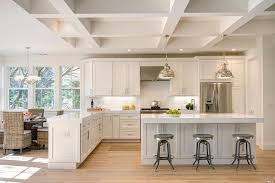 kitchen with island and peninsula 25 beautiful transitional kitchen designs pictures white quartz