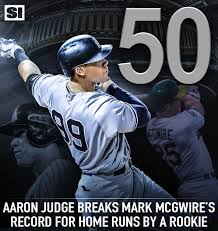 Aaron Judge Breaks Mlb Rookie Record With 50th Home Run Rolling Stone - si mlb on twitter aaron judge passes mark mcgwire and now holds