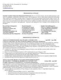 Superintendent Resume Sample by Construction Project Manager Resume Superintendent Resumes Resume