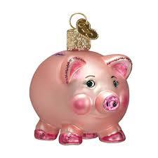 world piggy bank glass blown ornament