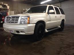 cadillac escalade with black rims fs sold md 2003 cadillac escalade white black 24 rims clean awd