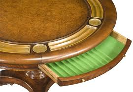 small round game table luxury high end leather top card table for six with drawer