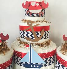 Nautical Baby Shower Centerpieces by Chevron Nautical Diaper Cake In Navy And Red Nautical Baby Shower