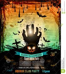 halloween party flyer with creepy colorful elements stock vector