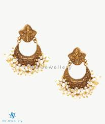 earrings online the afreen silver pearl chand bali buy gold plated jewellery