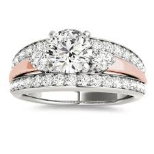 wide band engagement rings band engagement ring diamond side stones 14k two tone gold 0 75ct