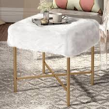 willa arlo interiors cajsa faux fur stool u0026 reviews wayfair