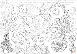 seahorse and its coral reef imitator coloring page free