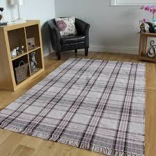 plaid area rugs luxurious traditional tartan rugs hand woven lilac grey cotton