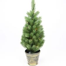 Twinkling Christmas Tree Lights Canada by Battery Pre Lit Green Artificial Potted Real Feel Pe Christmas Tree