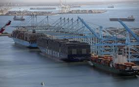 megaship docks in l a as change roils shipping industry la times