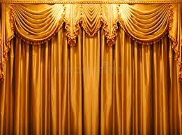 gold backdrop luxury gold fabric curtains backdrop on the theate stock image