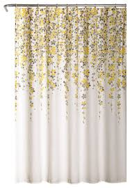 weeping flower shower curtain yellow gray 72 x72 contemporary