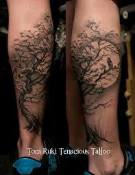 moon owl in tree tattoos on legs