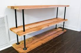 wood and pipe table great diy pipe and wood shelves diy black coffee bar station in