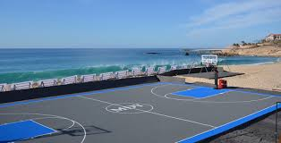 Basketball Court In Backyard Cost basketball tennis multi use courts l deshayes dream courts
