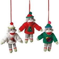 sock monkey in sweater ornament sock monkeys