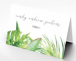 printable name place cards tropical place card etsy