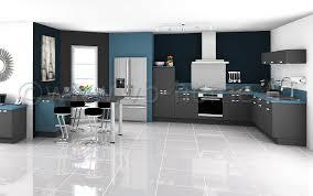 grande cuisine moderne grande cuisine ouverte moderne avec façades gris bleu plan de