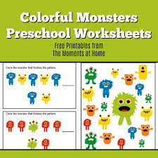 monster colors printable worksheets for preschoolers the moments