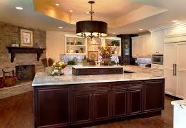 kitchen style dark brown island base brown hanging lights