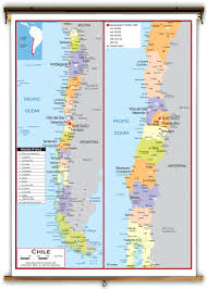 Political Map Of South America by Chile Political Educational Wall Map From Academia Maps