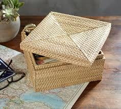 light in the box weave light rattan weave box pottery barn
