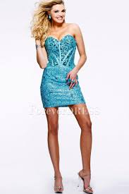 sweetheart ice blue satin short prom dress with sequins