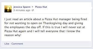 pizza hut employee i was fired for defending thanksgiving update