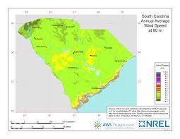map of sc windexchange south carolina 80 meter wind resource map