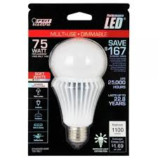 feit electric led bulb a19 75w equivalent 3000k warm white