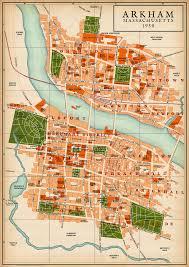 World Map 1950 Map Of Arkham 1950 Jpg 1 274 1 800 Pixels Maps Pinterest Rpg