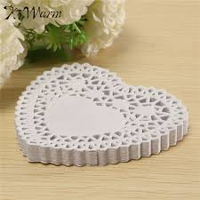 heart shaped doilies new 100pcs set 4 inches lace paper white heart shaped lace paper