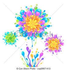 vector clip art of bright rainbow colors paint splash firework