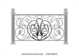 wrought iron balcony fence stock vector 321996128 shutterstock
