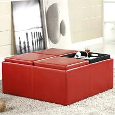 ottoman red leather square storage ottoman default name red