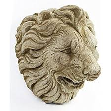 amazon com cast iron lion head hanging garden plaque patio