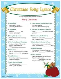 christmas song lyrics fill in the bkanks game i bet this would